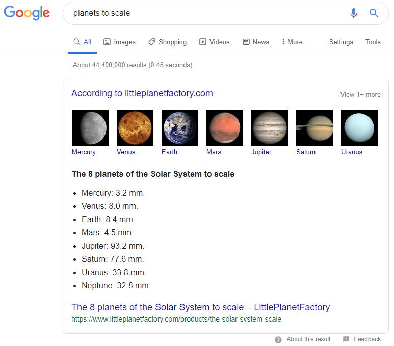 Google Incorrect Planet Sizes