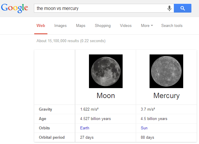 Moon and Planet Comparison in Google